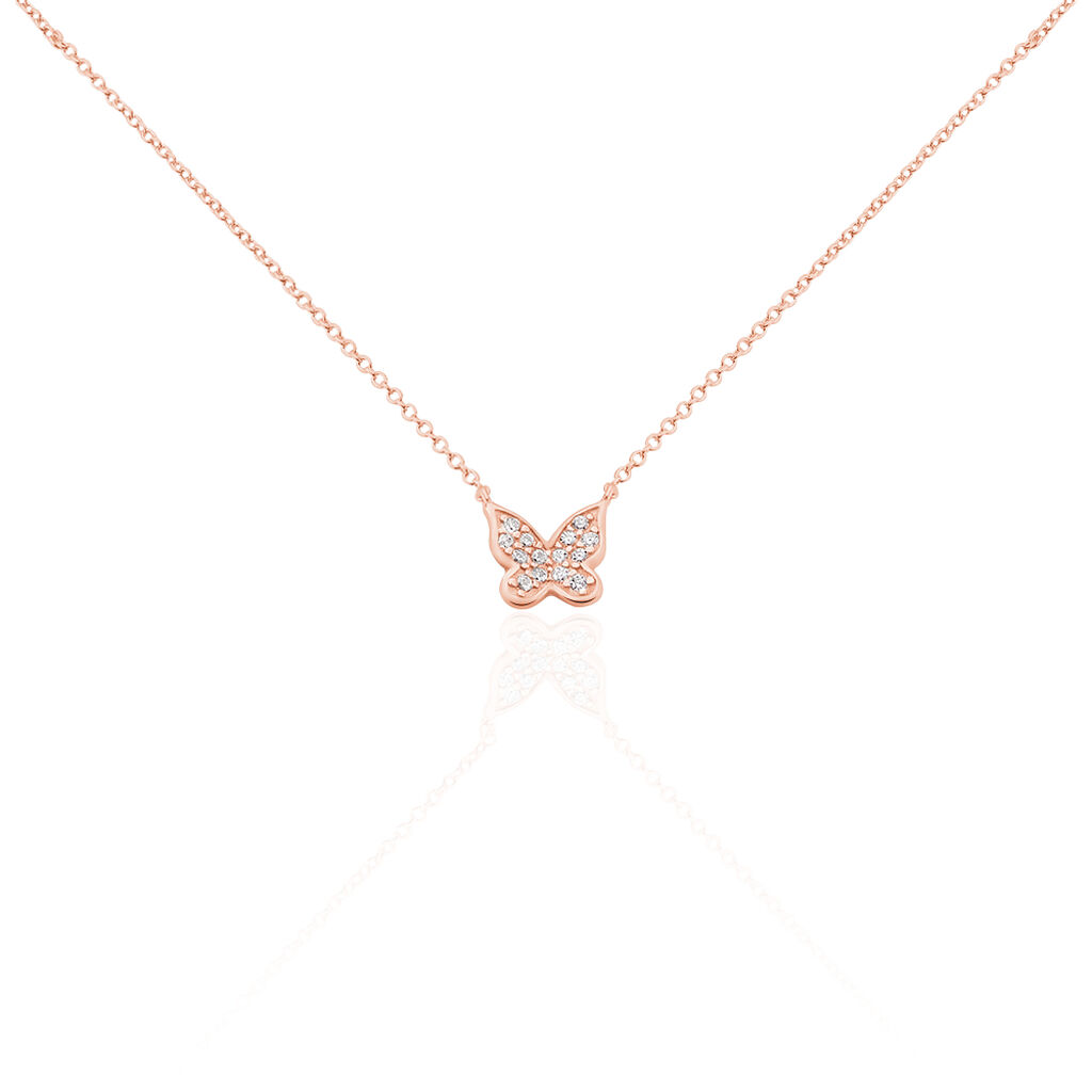 Collier Anne-lise Argent Rose Oxyde De Zirconium - Colliers Papillon Femme   Histoire d'Or