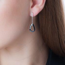 Boucles D'oreilles Pendantes Amaris Argent Céramique Et Oxyde - Boucles d'oreilles fantaisie Femme | Histoire d'Or