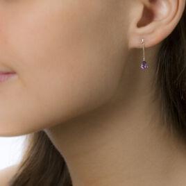 Boucles D'oreilles Pendantes Goutte Or Jaune Amethyste - Boucles d'oreilles pendantes Femme | Histoire d'Or