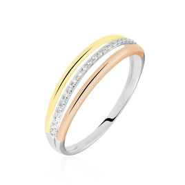 Bague Or Tricolore Vanadis Diamants - Bagues avec pierre Femme | Histoire d'Or