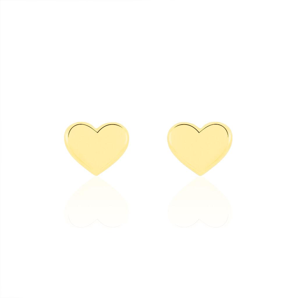 Boucles D'oreilles Puces Aricia Coeur Or Jaune - Boucles d'Oreilles Coeur Enfant   Histoire d'Or