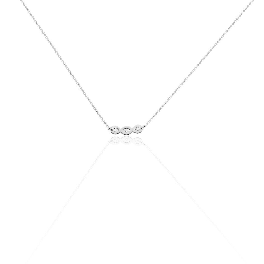 Collier Delfina Or Blanc Diamant - Bijoux Femme   Histoire d'Or