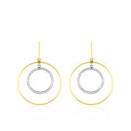 Boucles D'oreilles Or Bicolore Sabienne Deux Cercles - Boucles d'oreilles pendantes Femme   Histoire d'Or
