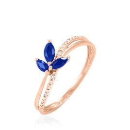 Bague Maura Or Rose Saphir Et Diamant - Bagues avec pierre Femme   Histoire d'Or