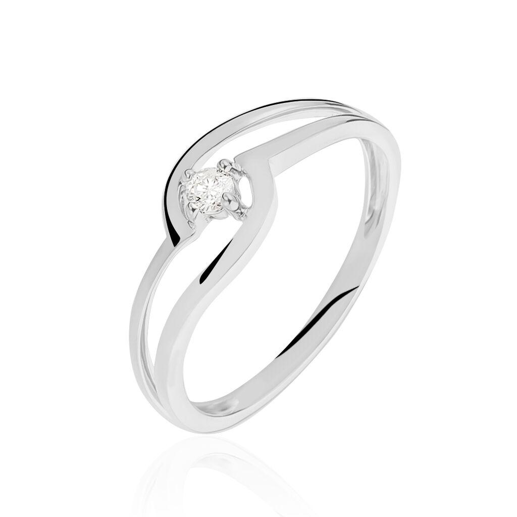 Bague Onenn Or Blanc Diamant - Bagues solitaires Femme   Histoire d'Or
