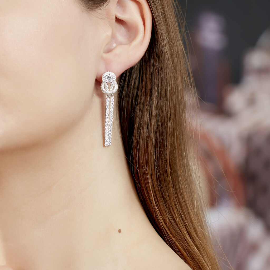 Boucles D'oreilles Pendantes Laetizia Pretty Argent Oxyde - Boucles d'oreilles pendantes Femme   Histoire d'Or