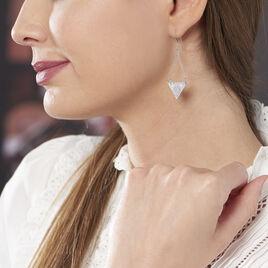 Boucles D'oreilles Pendantes Paulina Argent Blanc - Boucles d'oreilles fantaisie Femme | Histoire d'Or