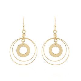 Boucles D'oreilles Pendantes Davida Plaque Or Jaune - Bijoux Etoile de David Femme | Histoire d'Or
