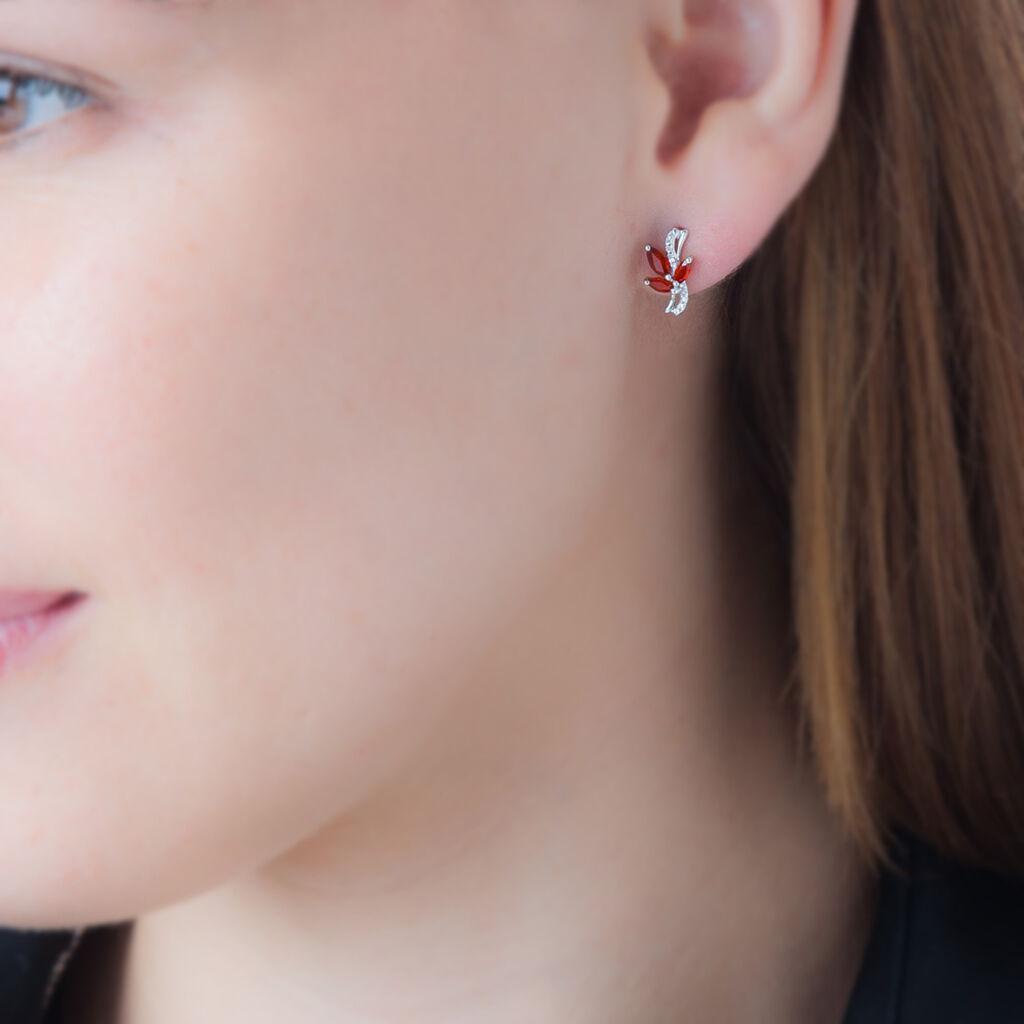 Boucles D'oreilles Puces Angie Or Blanc Diamant Et Rubis - Clous d'oreilles Femme   Histoire d'Or