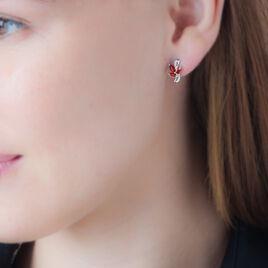 Boucles D'oreilles Puces Angie Or Blanc Diamant Et Rubis - Clous d'oreilles Femme | Histoire d'Or