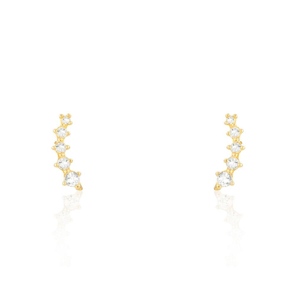Boucles D'oreilles Puces Youssa Barrettes Or Jaune Oxyde De Zirconium - Clous d'oreilles Femme | Histoire d'Or
