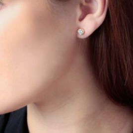 Boucles D'oreilles Puces Eden Serti Pneu Or Jaune Oxyde De Zirconium - Clous d'oreilles Femme   Histoire d'Or