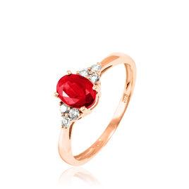 Bague Lea Or Rose Rubis Et Diamant - Bagues avec pierre Femme   Histoire d'Or