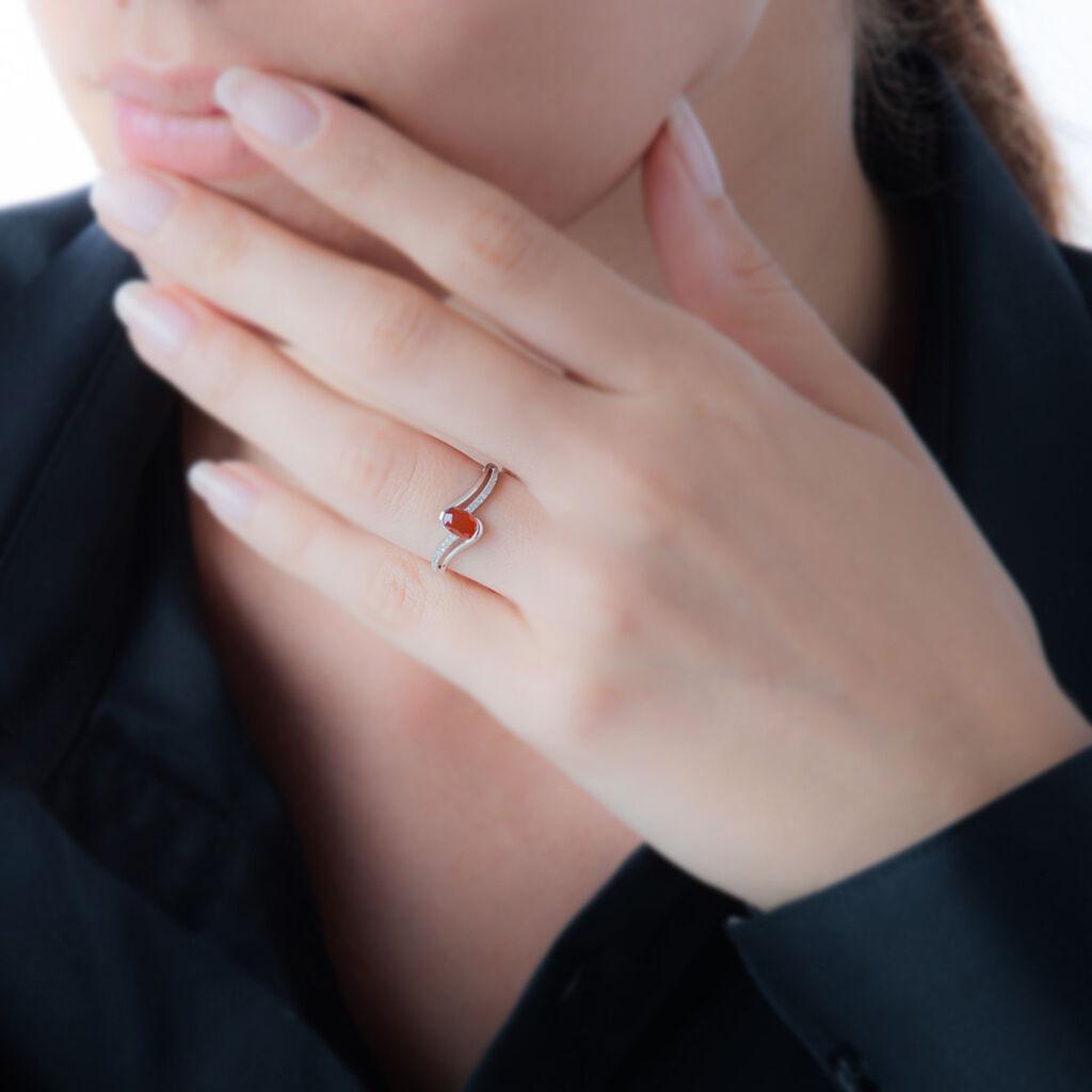 Bague Anja Or Rose Rubis Et Diamant - Bagues avec pierre Femme   Histoire d'Or