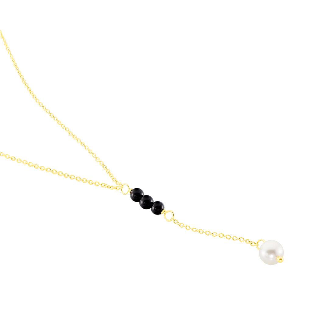 Collier Or Jaune Perle De Culture Et Onyx - Bijoux Femme | Histoire d'Or