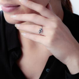 Bague Petale Or Blanc Saphir Et Diamant - Bagues avec pierre Femme   Histoire d'Or