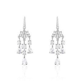 Boucles D'oreilles Pendantes Violette Or Blanc Oxyde De Zirconium - Boucles d'oreilles pendantes Femme | Histoire d'Or