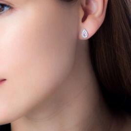 Boucles D'oreilles Pendantes Tania Argent Pierre De Synthese Et Oxyde - Boucles d'oreilles fantaisie Femme   Histoire d'Or