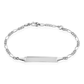 Bracelet Identité Bartolomee Maille Alternee 1/3 Or Blanc - Bracelets Communion Enfant | Histoire d'Or