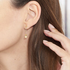 Boucles D'oreilles Pendantes Anne-maudae Pendantes Coeurs Or Jaune - Boucles d'Oreilles Coeur Femme | Histoire d'Or