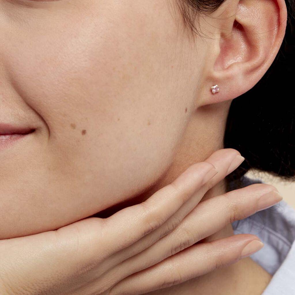Boucles D'oreilles Puces Doreen Carre Or Jaune Oxyde De Zirconium - Clous d'oreilles Femme   Histoire d'Or