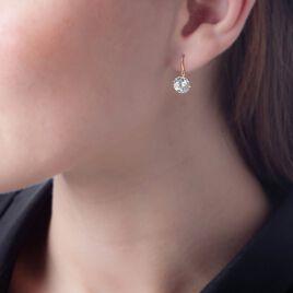 Boucles D'oreilles Pendantes Aedhan Or Jaune Oxyde De Zirconium - Boucles d'Oreilles Plume Femme   Histoire d'Or