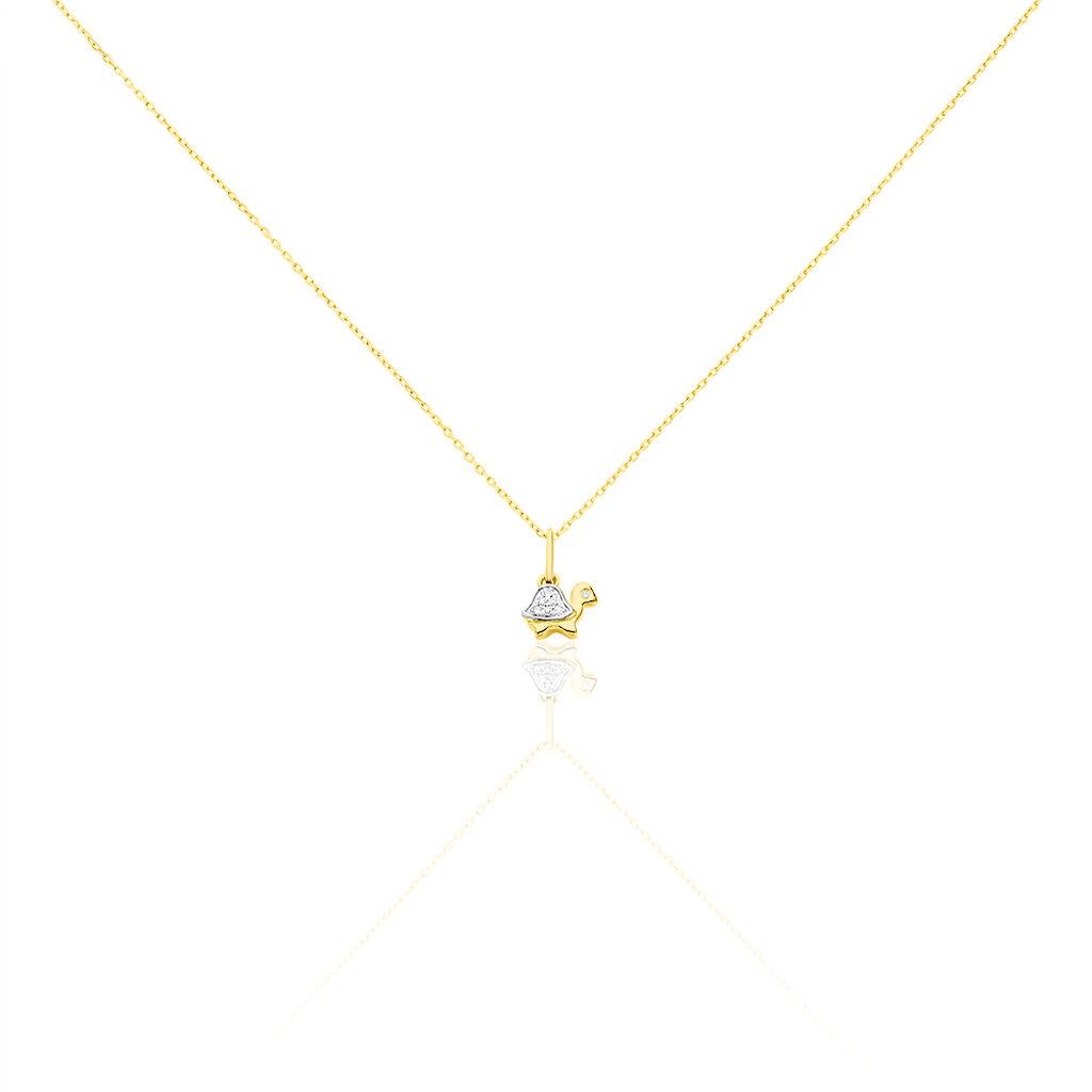Collier Evaelle Tortue Or Jaune Diamant - Colliers Naissance Enfant | Histoire d'Or