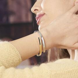 Bracelet Jonc Loise 2 Fils Carres Or Bicolore - Bracelets joncs Femme   Histoire d'Or