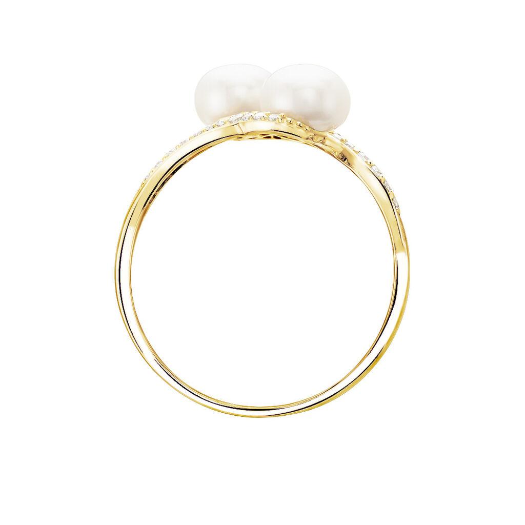 Bague Loeva Or Jaune Perle De Culture Et Oxyde De Zirconium - Bagues avec pierre Femme   Histoire d'Or