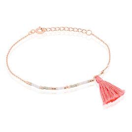 Bracelet Argent Rose Perles Pompon - Bracelets fantaisie Femme | Histoire d'Or