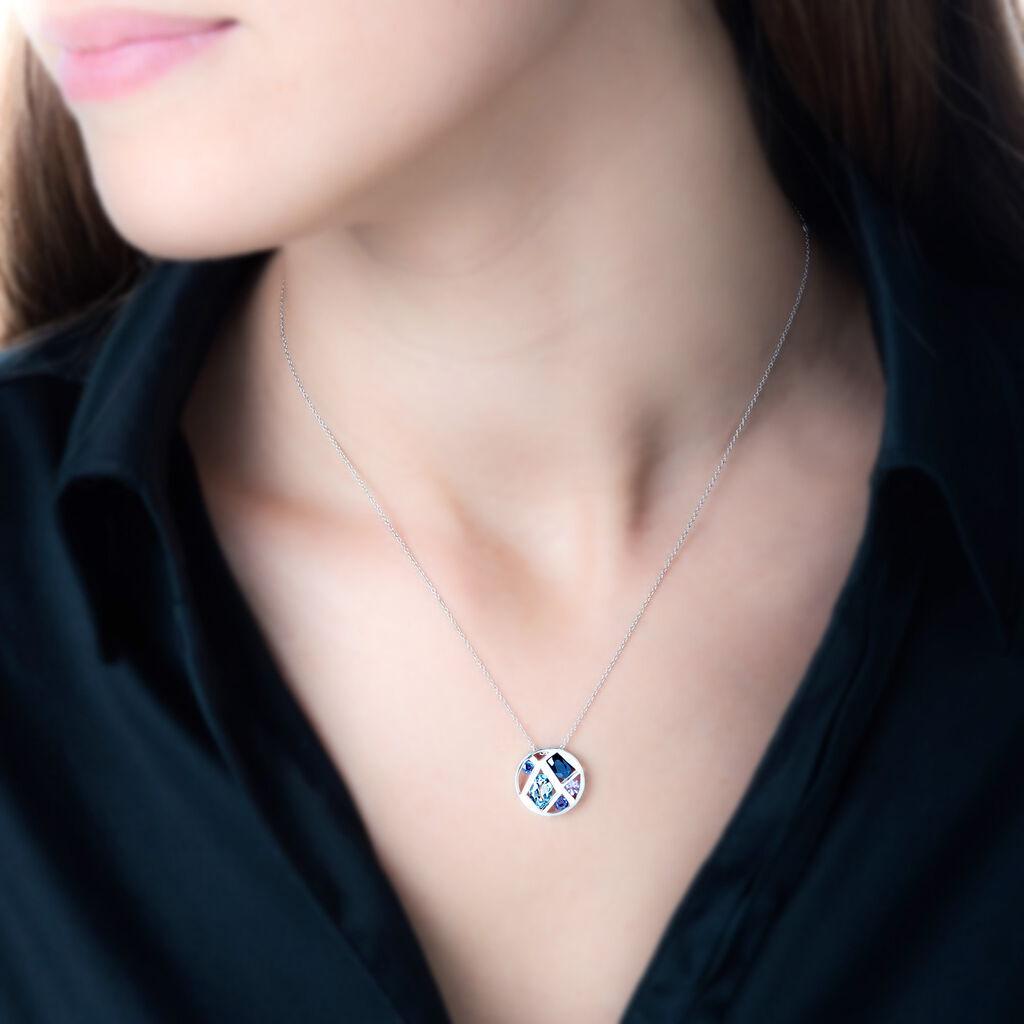 Collier Mosaique Or Blanc Amethyste Et Olivine Et Saphir - Bijoux Femme | Histoire d'Or