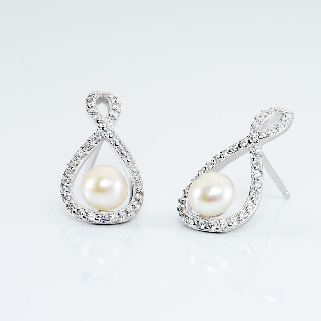 Boucles D'oreilles Pendantes Saja Argent Perle De Culture Et Oxyde - Boucles d'oreilles fantaisie Femme   Histoire d'Or