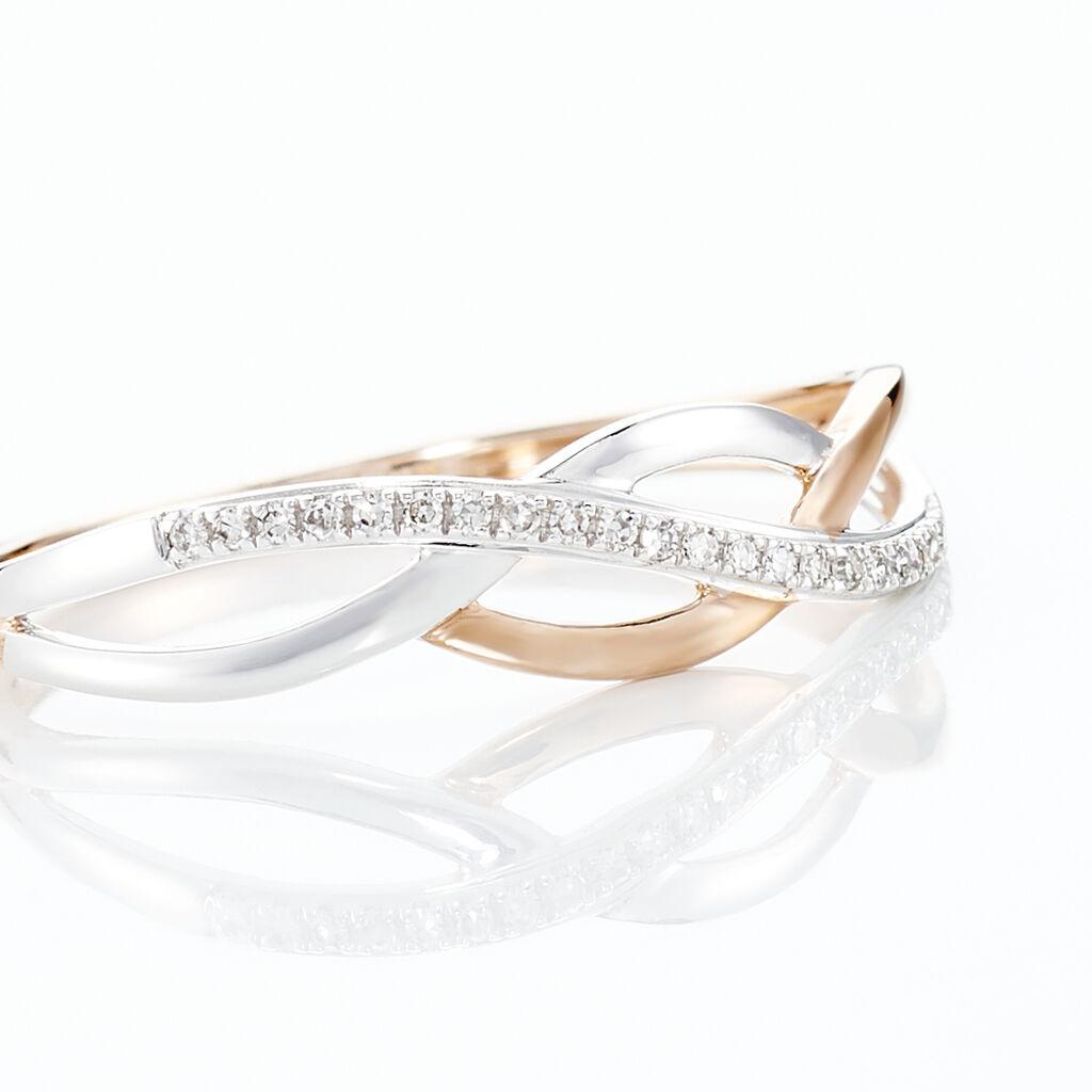 Bague Batista Or Bicolore Diamant - Bagues avec pierre Femme   Histoire d'Or
