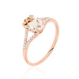 Bague Solitaire Regeanne Or Rose Morganite Et Diamant - Bagues solitaires Femme | Histoire d'Or