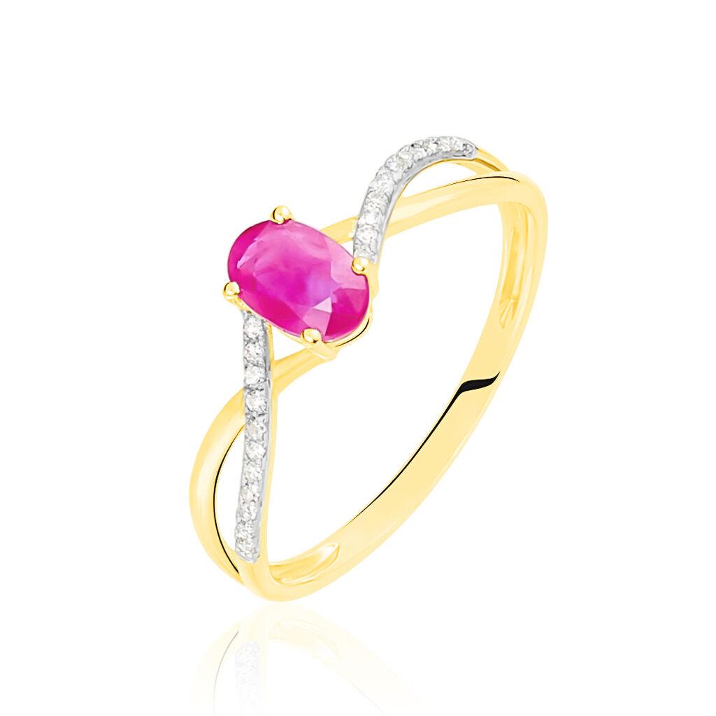 Bague Or Jaune Diamant Et Rubis - Bagues avec pierre Femme   Histoire d'Or