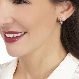 Boucles D'oreilles Puces Or Jaune Perle Culture De Tahiti Et Diamant - Clous d'oreilles Femme | Histoire d'Or
