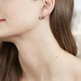 Bijoux D'oreilles Matirna Plaque Or Jaune Pierre De Synthese - Boucles d'oreilles fantaisie Femme | Histoire d'Or