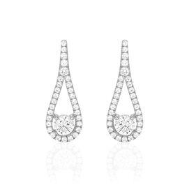 Boucles D'oreilles Pendantes Antonietta Argent Oxyde De Zirconium - Boucles d'oreilles fantaisie Femme   Histoire d'Or