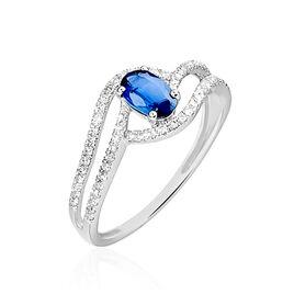 Bague Lyna Or Blanc Saphir Et Diamant - Bagues avec pierre Femme | Histoire d'Or