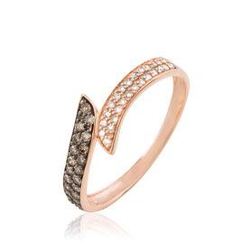 Bague Akemi Or Rose Diamant - Bagues avec pierre Femme   Histoire d'Or