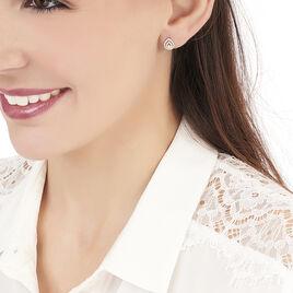 Boucles D'oreilles Puces Adriana Or Rose Oxyde De Zirconium - Clous d'oreilles Femme | Histoire d'Or