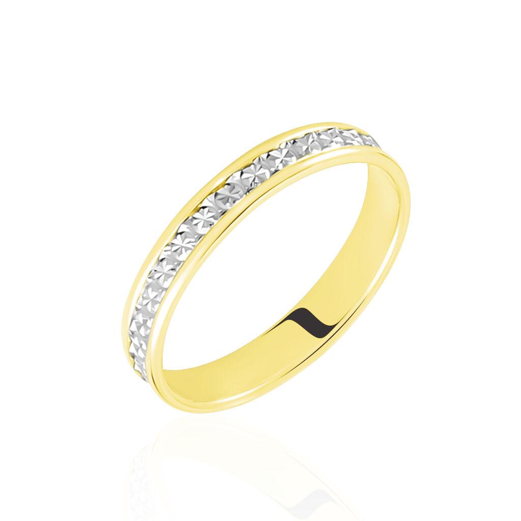 Alliance Laura Diamantee Ruban Plat Or Bicolore - Alliances Unisexe | Histoire d'Or