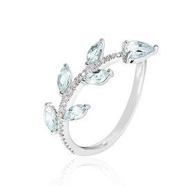 Bague Sevimae Or Blanc Topaze Diamant - Bagues Plume Femme | Histoire d'Or