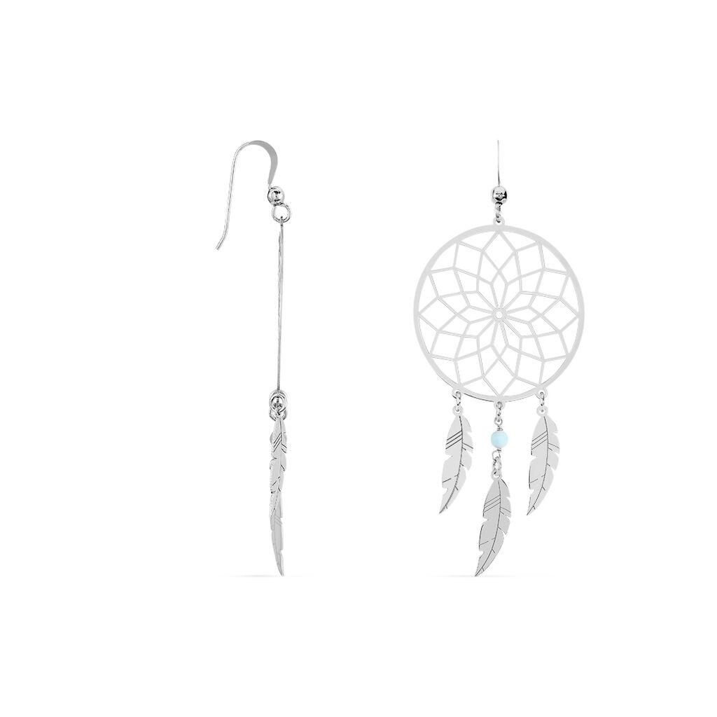 Boucles D'oreilles Pendantes Misalie Argent Blanc - Boucles d'Oreilles Attrape rêves Femme | Histoire d'Or