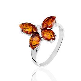 Bague Argent Motif Papillon Ambre Cognac - Bagues Papillon Femme | Histoire d'Or