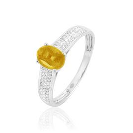 Bague Crista Or Blanc Citrine Et Diamant - Bagues avec pierre Femme | Histoire d'Or