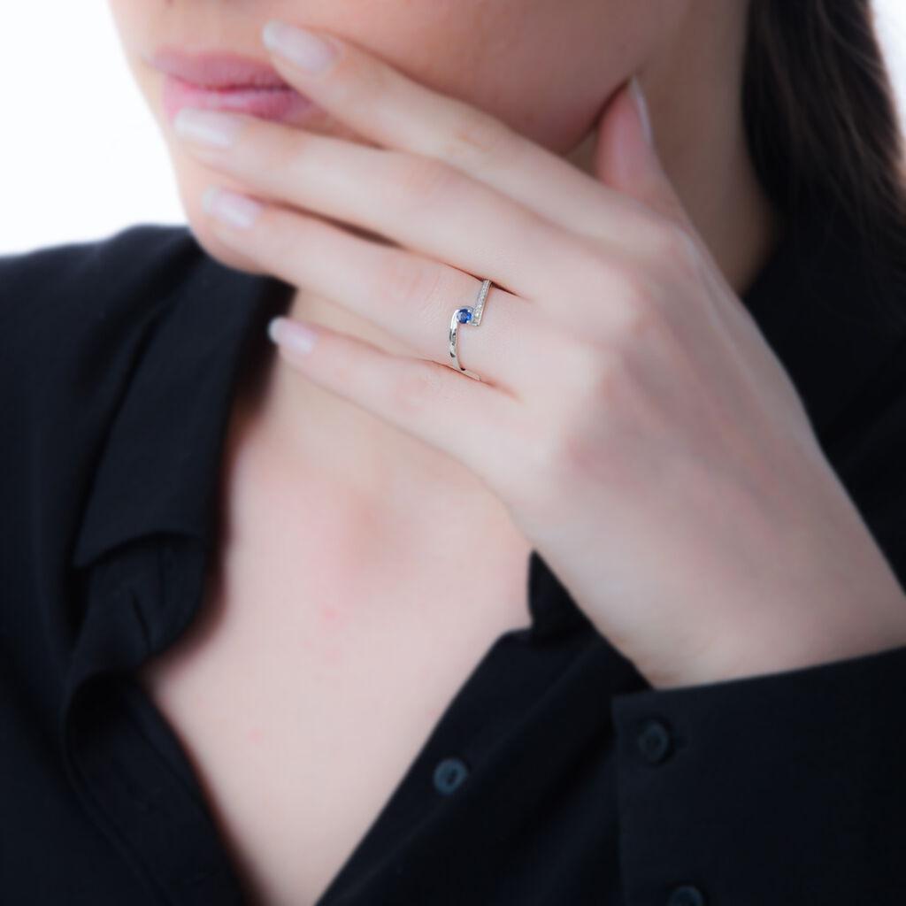 Bague Trieste Or Blanc Saphir Et Diamant - Bagues avec pierre Femme   Histoire d'Or