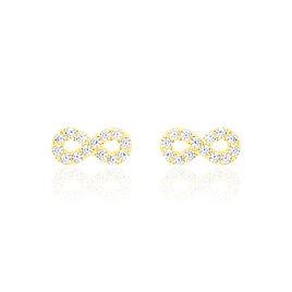 Boucles D'oreilles Puces Fannelle Infini Or Jaune Oxyde De Zirconium - Boucles d'Oreilles Infini Femme | Histoire d'Or