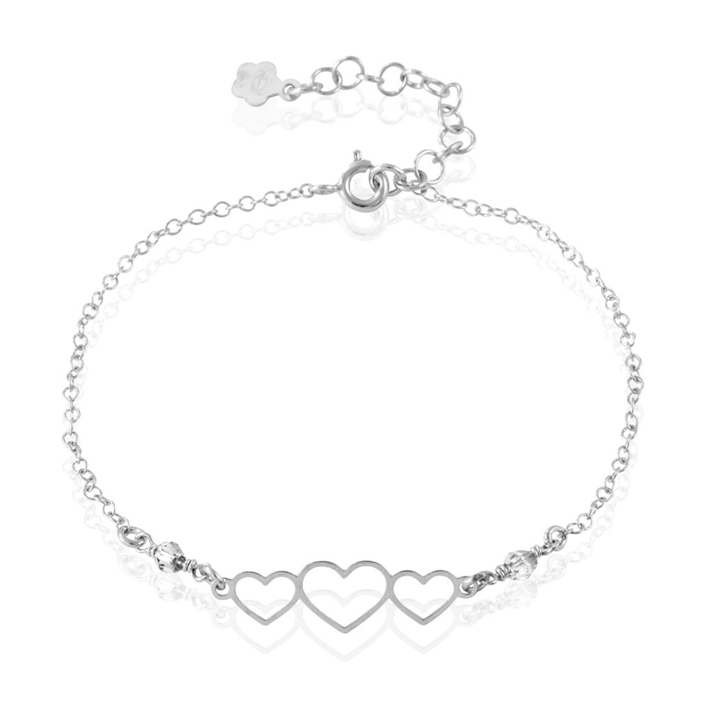 Bracelet Love Love Argent Blanc Oxyde De Zirconium - Bracelets Coeur Femme | Histoire d'Or