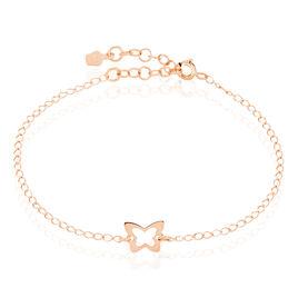 Bracelet Rosée Argent Bicolore Papillon - Bracelets Papillon Unisexe   Histoire d'Or